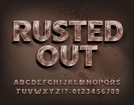 Rusted Out alphabet font. Scratched metal letters and numbers. Stock vector typescript for your design.
