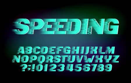 Speeding alphabet font. Wind effect letters and numbers. Stock vector typeface for your design in sport style.