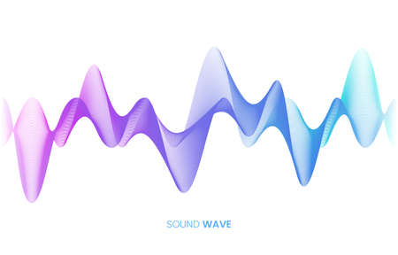 Vector sound wave flow. Voice control and sound recognition concept. White background. Stock vector illustration in high-tech style. Ilustrace