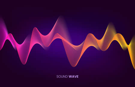 Vector sound wave flow. Voice and sound recognition concept. Stock vector illustration in high-tech style.