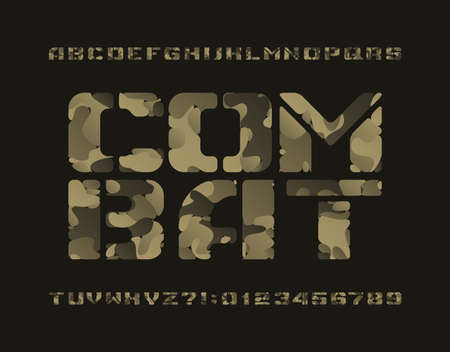 Combat alphabet font. Camo letters and numbers. Stock vector typescript for your design. 矢量图像