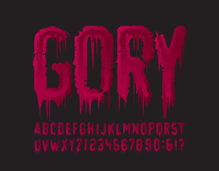 Gory alphabet font. Blood grunge letters and numbers. Hand drawn vector typography for your Halloween typography.
