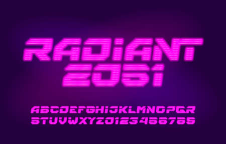 Radiant alphabet font. Neon light letters, numbers and symbols. Futuristic vector typeface for your typography design.