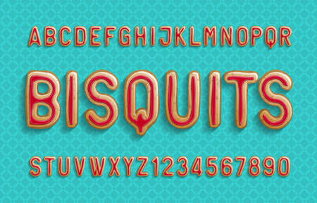 Bisquits alphabet font. Cartoon letters and numbers with jam covering. Stock vector illustration for your design.
