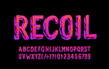 Recoil alphabet font. Messy grunge letters and numbers. Stock vector illustration for your Halloween typography.