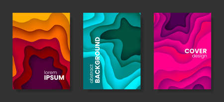 Set of abstract vector 3D paper backgrounds with vivid colors. Stock vector backdrop. Ilustração