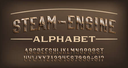 Steam-Engine alphabet font. Steampunk rusty rivet and numbers. Stock vector typescript for your design.