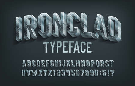 Ironclad alphabet font. 3D metal letters and numbers. Stock vector typescript for your design. 벡터 (일러스트)