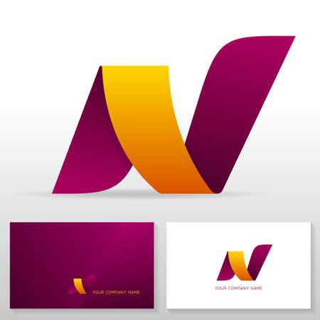 Letter N design – modern vector emblem. Business card templates. Stock vector illustration. Vettoriali