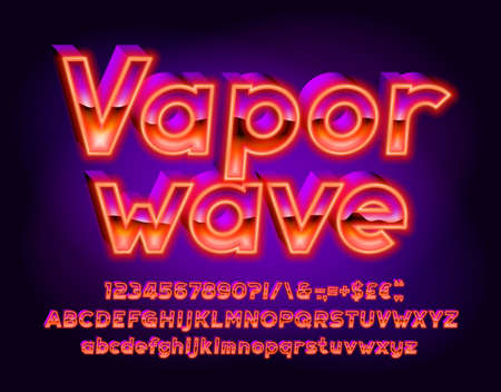 Vaporwave alphabet font. 3D effect letters, numbers and punctuations. Uppercase and lowercase. Retro-futuristic vector typescript for your typography design. Vetores