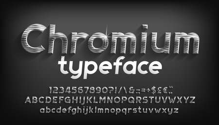 Chromium alphabet font. Beveled metal letters, numbers and punctuation with shadow. Stock vector typeface for your typography design.