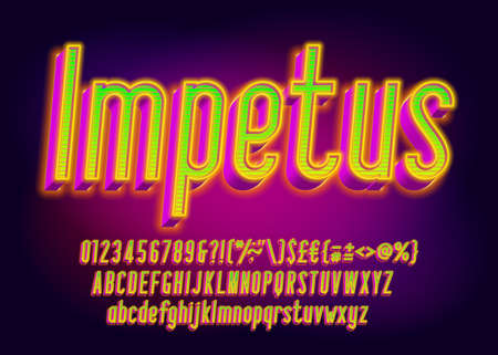 Impetus alphabet font. 3D effect glowing letters, numbers and punctuations. Uppercase and lowercase. Retro-futuristic vector typescript for your typography design.