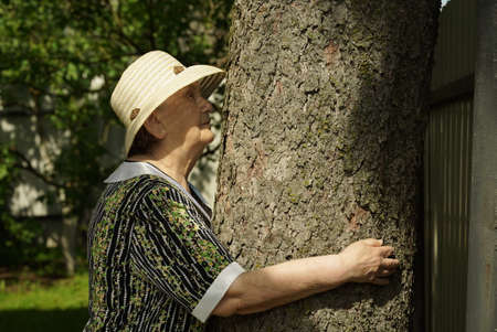 Elderly mature woman aged 80s dressed in white hat hugging tree trunk her hands in the forest. Woman is charged energy of nature. Relaxation in a summer day Stock fotó