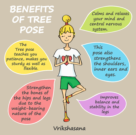 Vector benefits of tree pose. VRIKSHASANA. Cute little cartoon girl in yoga tree pose
