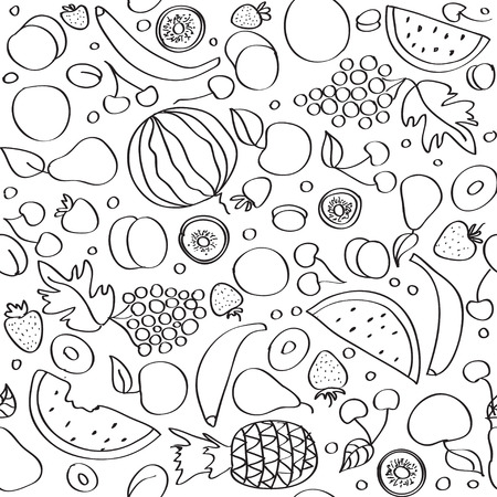 black and white line drawing: Seamless vector doodle cartoon pattern of summer fruits in lines