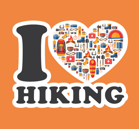 hiking boots: Graphic sticker I love hiking. Hiking and camping equipment in a heart shape. Design emblem. Hiking illustration. Great for promoting and merchandising