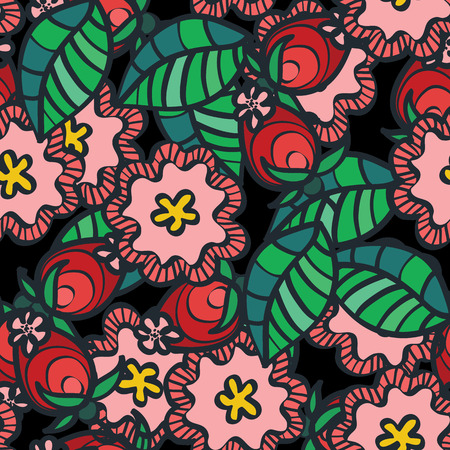 wild berry: Seamless vector pattern with wild rose flower and berry
