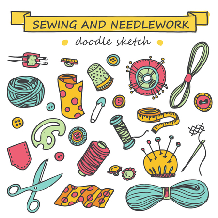needlework: Sewing and needlework doodle set colored