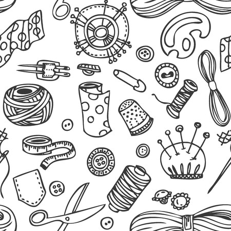 needlework: Seamless vector doodle sewing and needlework pattern