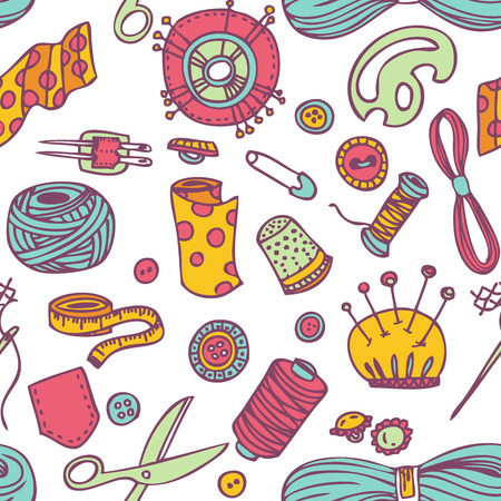 sew: Sin fisuras vector del doodle de costura y el patr�n de costura