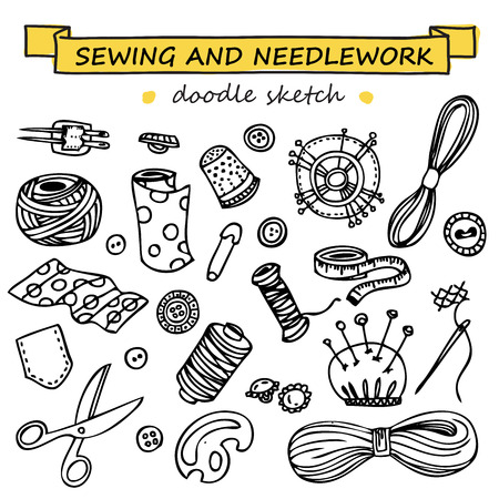 needlework: Seamless vector doodle sewing and needlework set