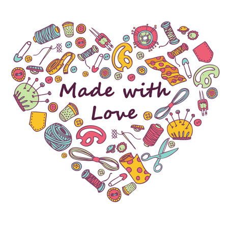 merchandising: Vector doodle  illustration of sewing and needlework in heart shape. Hand made. Great for promoting and merchandising