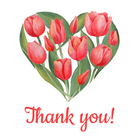 red tulip: Vector illustration of tulips flowers in heart shape. Watercolor drawing. Spring or summer design for invitation and greeting cards