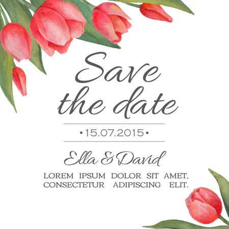 tarjeta de invitacion: Tarjeta de invitaci�n de la boda del vector de la acuarela con tulipanes. Dibujado a mano illustation. Ilustraci�n para tarjetas de felicitaci�n, invitaciones, y otros proyectos de impresi�n.