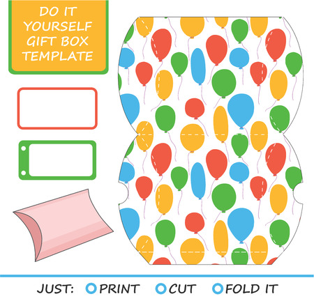 die cut: Favor, gift box die cut. Box template. Great for birthday or wedding gift packaging.