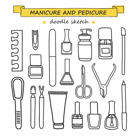 nail art: Vector set of manicure and pedicure doodle equipment. Nail art. Can be used for beauty salon decoration design promotion