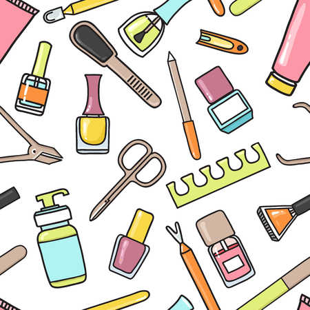nail salon: Vector seamless pattern of manicure and pedicure doodle equipment. Nail art. Can be used for beauty salon decoration, background; design, promotion