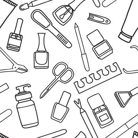 cuticle: Vector seamless pattern of manicure and pedicure doodle equipment. Nail art. Can be used for beauty salon decoration, background; design, promotion