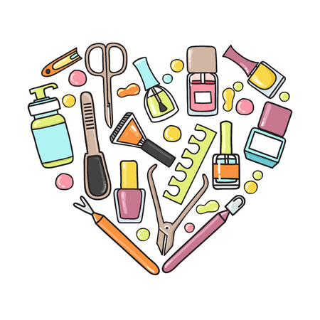 merchandising: Vector doodle illustration of manicure and pedicure equipment in a heart shape. Hand made.Great for promoting and merchandising