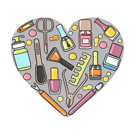 cuticle: Vector doodle illustration of manicure and pedicure equipment in a heart shape. Hand made.Great for promoting and merchandising