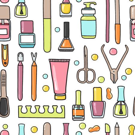 pedicura: Vector sin patrón de los equipos de manicura y pedicura garabato. Arte de uñas. Puede ser utilizado para la decoración del salón de belleza, fondo, diseño, promoción