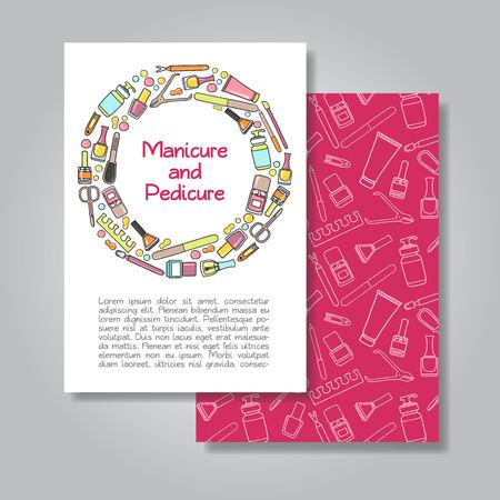マニキュア、ペディキュアのイラスト背景と招待カード デザインの 2 つの側面。ベクトル カード、手紙、バナー、チラシのデザイン テンプレート