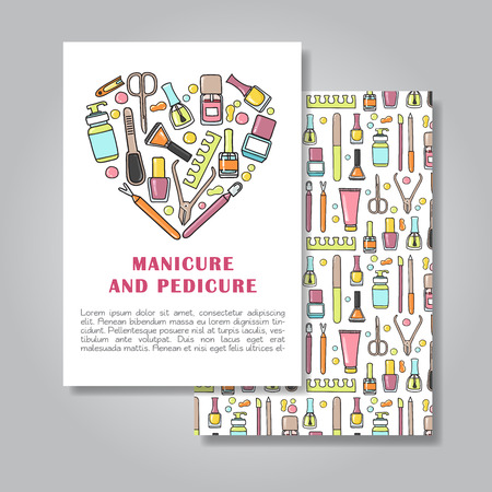 Two sides invitation card design with manicure and pedicure illustration background. Vector design template for card, letter, banner, flyer. Illustration