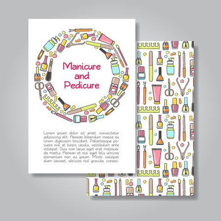 nail file: Two sides invitation card design with manicure and pedicure illustration background. Vector design template for card, letter, banner, flyer. Illustration