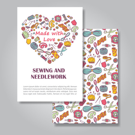 promote: Two sides invitation card design with sewing and needlework illustration background. Vector design template for card, letter, banner, flyer.Can by used  to promote your products and services. Illustration