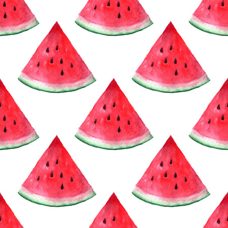 Vector seamless watercolor hand drawn watermelon pattern. Organic food illustration.