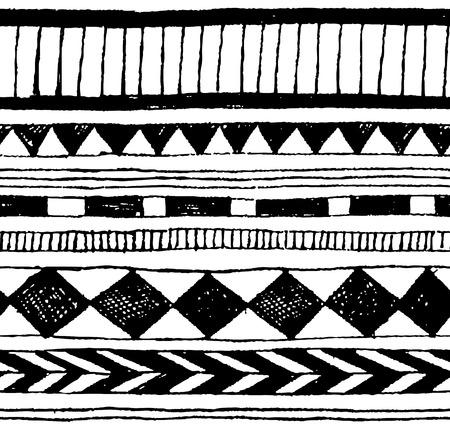 シームレスなベクトル手描きトライバル インク パターン  イラスト・ベクター素材