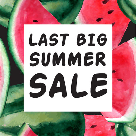 hot sale: Last Big Summer Sale Banner. Vector watercolor illustration with juicy watermelon. Big sale and special discounts
