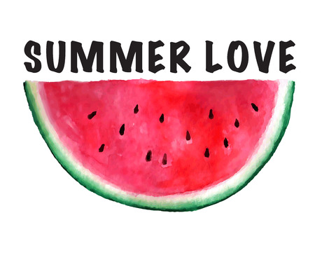 Vector seamless watercolor hand drawn watermelon pattern. Organic food illustration. Summer love text