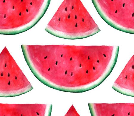 ベクトル シームレスな水彩の手には、スイカのパターンが描かれました。有機食品の図。