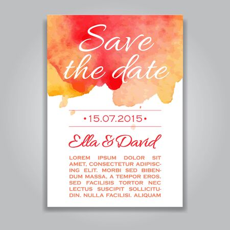 background colors: Vector wedding invitation card with watercolor background. Template Wedding invitation or announcements. Save the date wedding invitation in red and yellow colors Illustration
