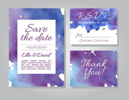 結婚式招待状カード セット水彩背景ベクトルします。テンプレート結婚式招待状やお知らせ。青と紫の色の日の結婚式の招待状を保存します。RSVP