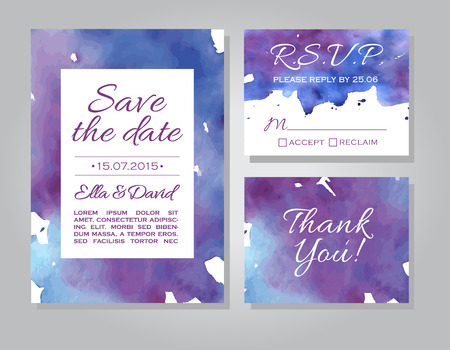 Vector wedding invitation card set with watercolor background. Template Wedding invitation or announcements. Save the date wedding invitation in blue and violet colors. RSVP and thank you card Ilustração