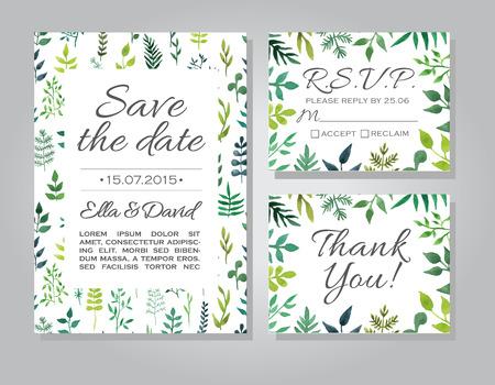 Vector bruiloft uitnodiging kaart gezet met bloemen aquarel achtergrond. Sjabloon uitnodiging of aankondigingen van het huwelijk. Sparen de datum trouwkaart met groene bloemen illustratie. RSVP en dank u kaart