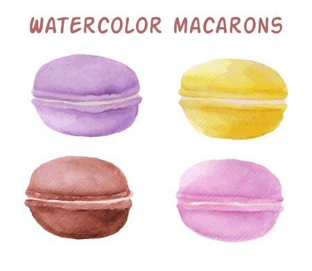 macaron: Vektor Aquarell macaron Satz