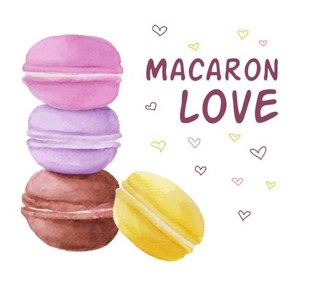 an illustration promoting: Vector watercolor macaron illustration. Macaron love